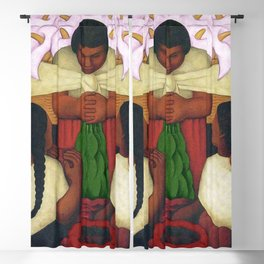 Calla Lilies in pink Flower Vendor at the Flower Festival floral portrait painting by Diego Rivera Blackout Curtain