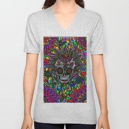 Psychedelic Sugar Skull Mosaic Unisex V-Neck