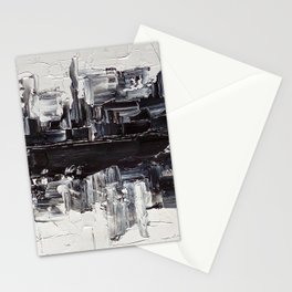 Flatline - black & white abstract painting Stationery Cards
