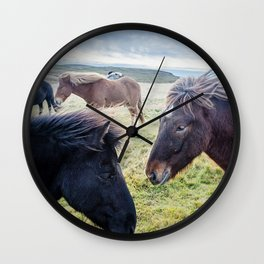 Icelandic Horses. Wall Clock