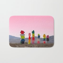 Seven Magic Mountains with Pink Sky - Las Vegas Bath Mat