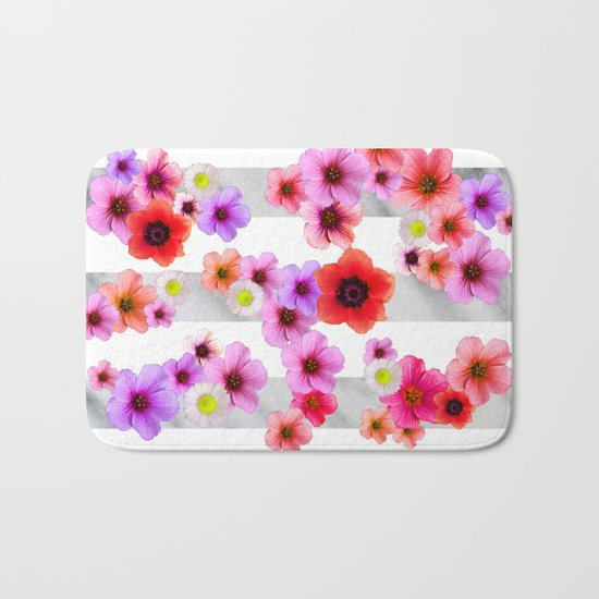 Flowers and Stripes 4 Bath Mat