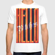 Hello Bitches White Mens Fitted Tee MEDIUM