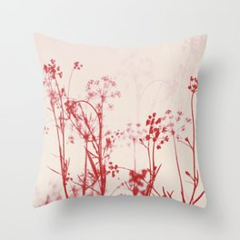 Elegant Coral Pink Botanical Floral Abstract. Throw Pillow