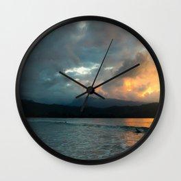 Hanalei Sunset (panorama) Wall Clock
