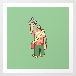 a man going to work to fill up the voids Art Print