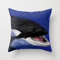 killer whale Throw Pillows featuring Killer Whale by TMootrey