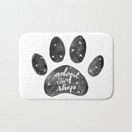 Adopt don't shop galaxy paw - black and white Bath Mat