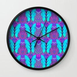 MODERN ART NEON BLUE BUTTERFLIES SURREAL PATTERNS Wall Clock