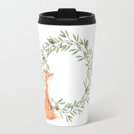 Cute Fox Looking at Acorns Travel Mug