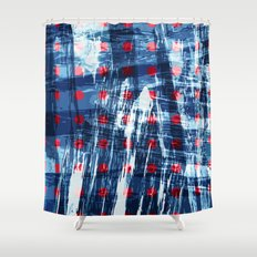 dots on blue ice Shower Curtain