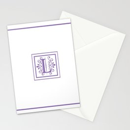 Monogram Letter L in Violet and White Stationery Cards