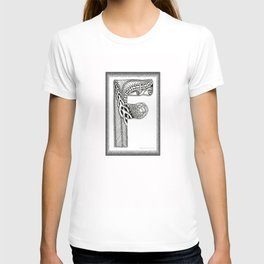 Zentangle F Monogram Alphabet Illustration T-shirt