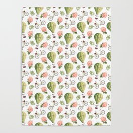 Bicycles Roses and Balloons Pattern Poster