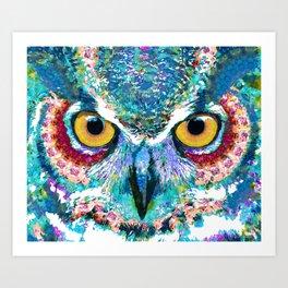 Colorful Horned Owl Art - Night Animal - Sharon Cummings Art Print