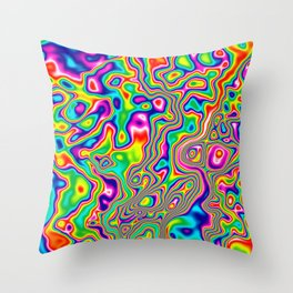Warped Rainbow Throw Pillow