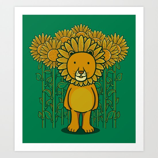 Sunflower and Lion (Camouflage) Art Print