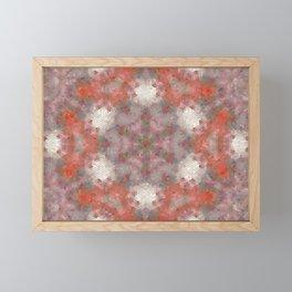 Floral Tile, Mosaic, Lavender and Orange Framed Mini Art Print