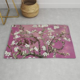 Vincent van Gogh Blossoming Almond Tree (Almond Blossoms) Fuchsia Sky Rug