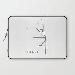 Chicago Metro Map - Black and White Art Print Laptop Sleeve