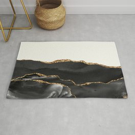 Eternity Black Agate with Gold on Cream Rug