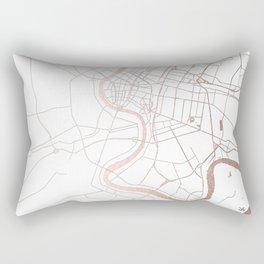Bangkok Thailand Minimal Street Map - Rose Gold Pink and White Rectangular Pillow