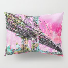 New York City Manhattan Bridge Red Pillow Sham