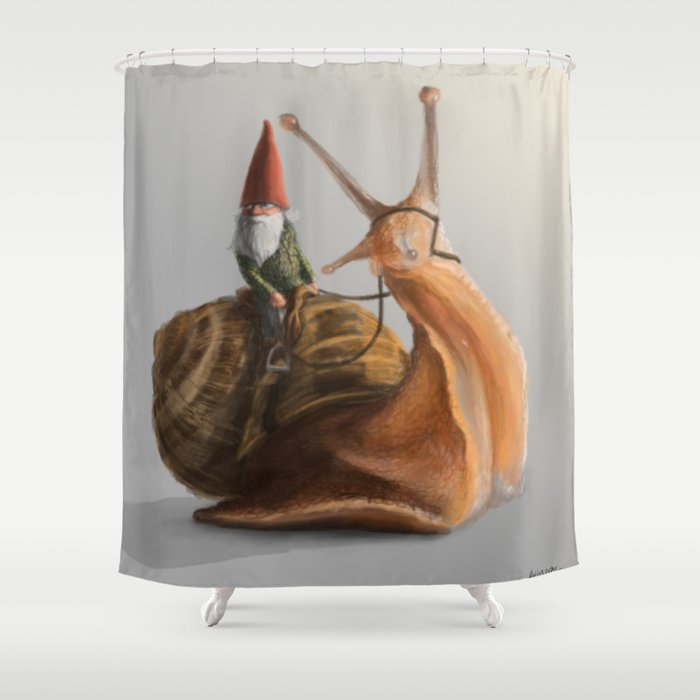 Gnome On Snail Shower Curtain