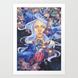Angel or devil - Raven, heart, Christmas rose Art Print