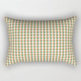 Small Orange White and Green Irish Gingham Check Plaid Rectangular Pillow