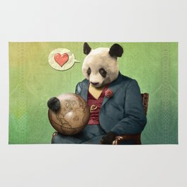 Wise Panda: Love Makes the World Go Around! Rug