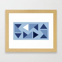 Indigo modern triangle design Framed Art Print