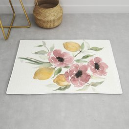 Watercolor-poppies-and-lemons Rug