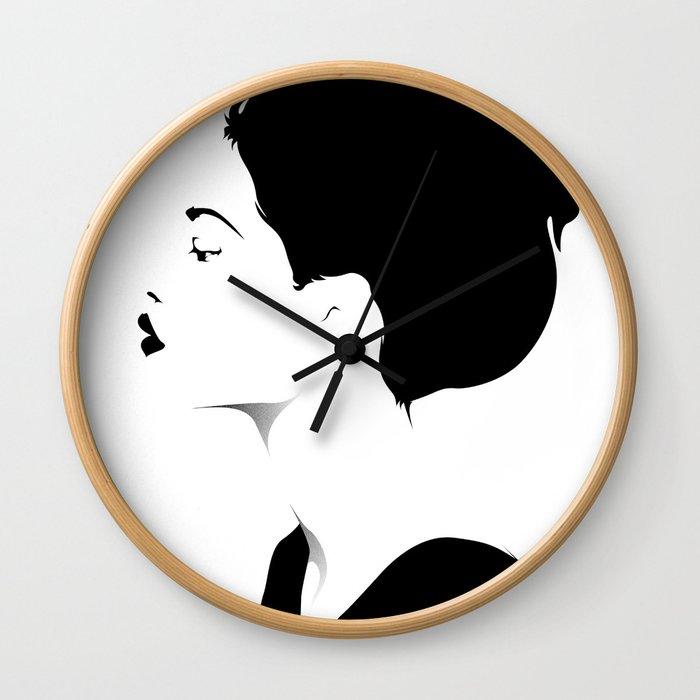 Woman in black & white Wall Clock