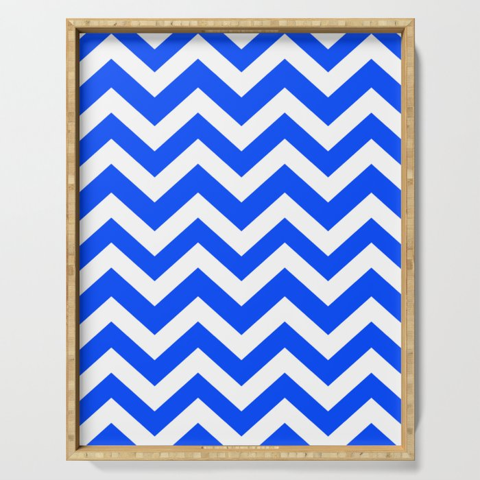 Blue (RYB) - blue color - Zigzag Chevron Pattern Serving Tray