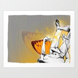 Self portrait orange butterflies Art Print