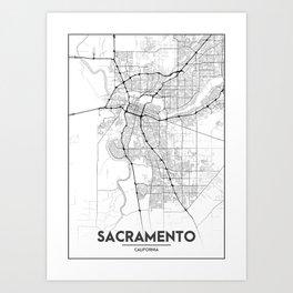 Minimal City Maps - Map Of Sacramento, California, United States Art Print