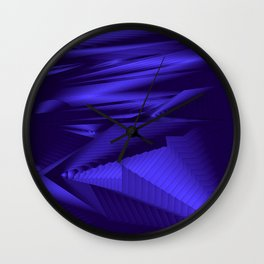 Diffuse landscap with stylised mountains, sea and blue Sun. Wall Clock