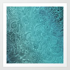 Detailed zentangle square, blue colorway Art Print