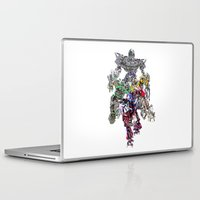 optimus prime Laptop & iPad Skins featuring TRANSFORMERS PAINT SWIRL ratchet megatron optimus prime bumblebee film movie by Radiopeach