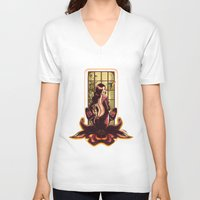 orchid V-neck T-shirts featuring ORCHID by Lorena Carvalho