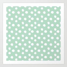 Brushy Dots Pattern - Mint  Art Print