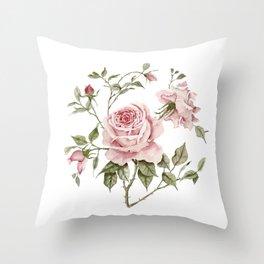 Pink Roses – Original Watercolor Throw Pillow