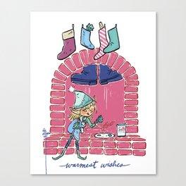 Warmest Wishes Little Elf Canvas Print