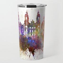 Innsbruck skyline in watercolor background Travel Mug