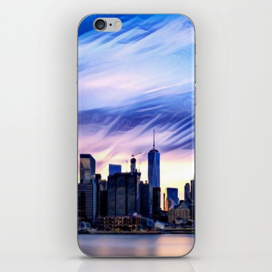 Romantic City Cityscape with Light Sunset and River iPhone Skin