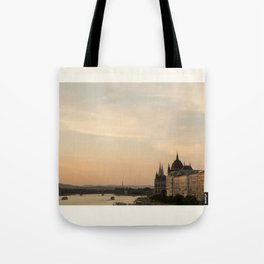 Sun sets over Budapest Tote Bag