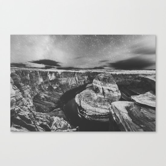 Southwest Starry Night Black and White Canvas Print