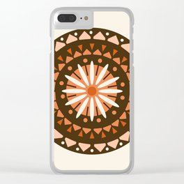 Jivin' - mandala trendy 70s style retro colors decor circle sun Clear iPhone Case