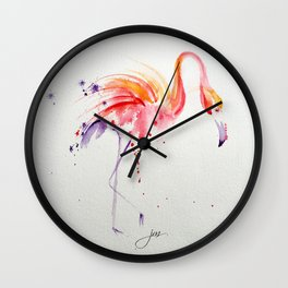 Flaming Flamingo Wall Clock